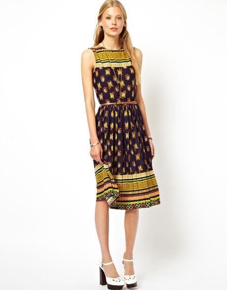 Asos Midi Dress in Vintage Floral Print with Pleated Skirt ...