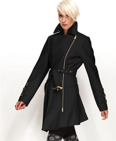 Bebe Coat Asymmetrical Belted Trench Coat in Black