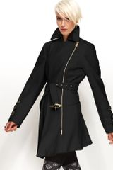 Bebe Coat Asymmetrical Belted Trench Coat in Black - Lyst