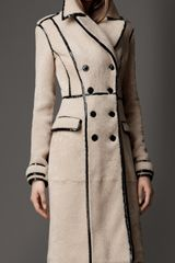 Burberry Patent Trim Shearling Coat - Lyst