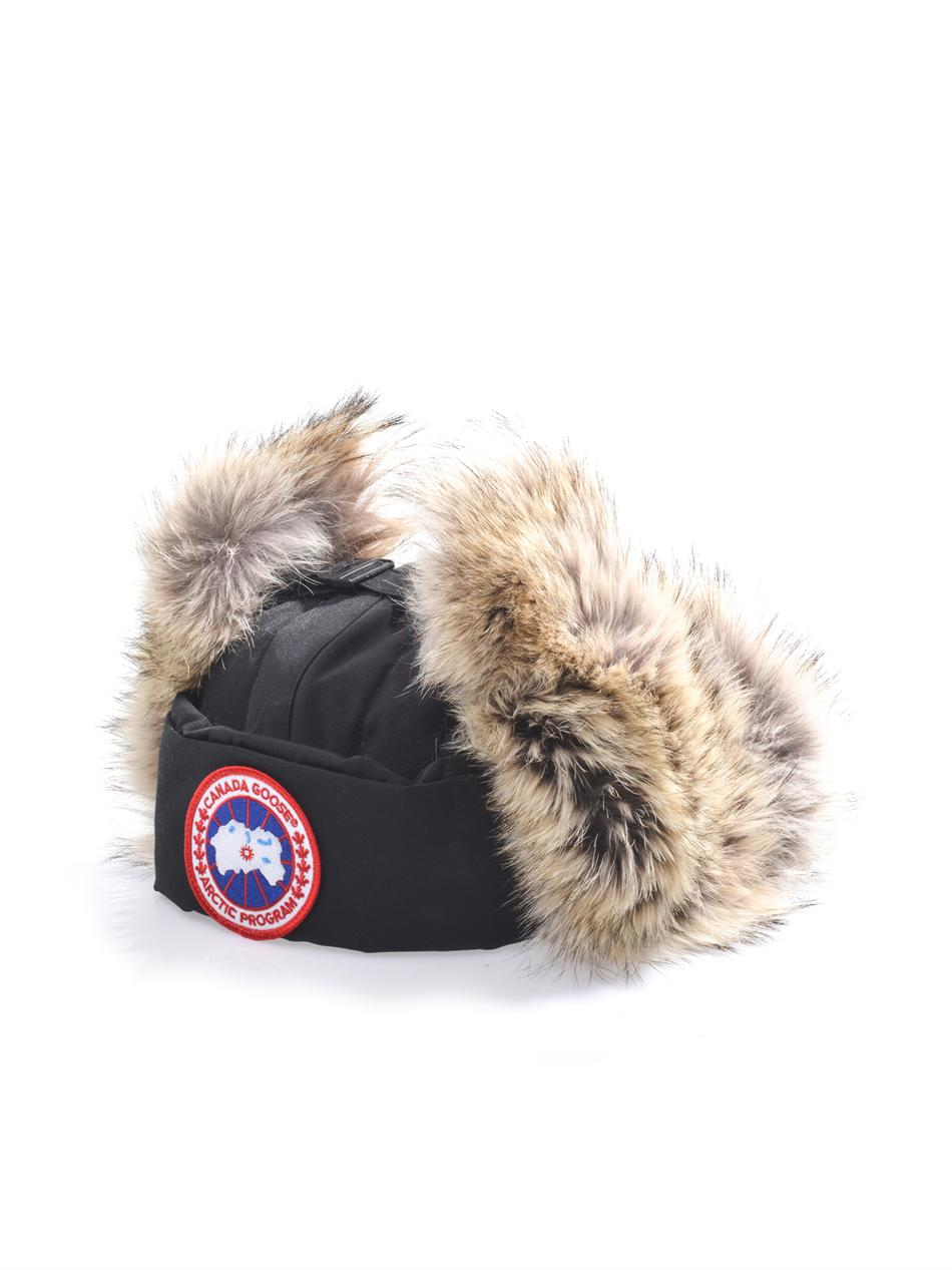 canada goose aviator coyote-trimmed trapper hat