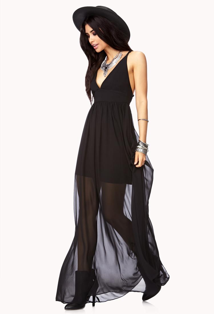 Lyst Forever 21 Elegant Strappy Back Maxi Dress In Black