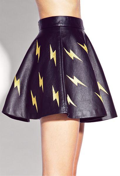 Forever 21 Shocking Faux Leather Skater Skirt In Black