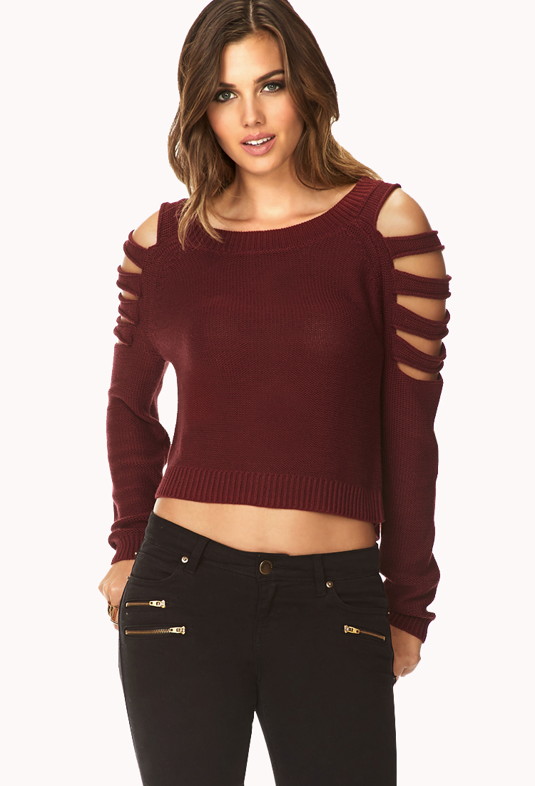 Forever 21 Clear Cut Cropped Sweater in Purple (BURGUNDY ...