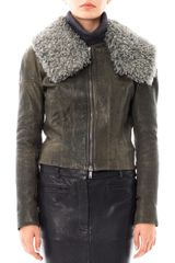 Haider Ackermann Shearling collar Leather Jacket - Lyst