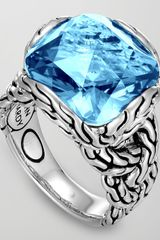 John Hardy Batu Chain Blue Topaz Ring Medium - Lyst