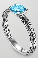 John Hardy Batu Chain Blue Topaz Ring Small - Lyst
