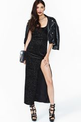 Nasty Gal Soft Star Velvet Maxi Dress - Lyst