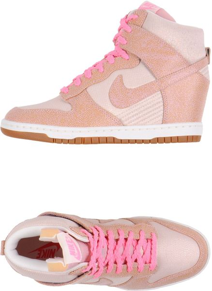 nike hightops in pink light pink lyst