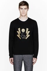 Opening Ceremony Black Crystal_embroidered Tcb Sweater - Lyst