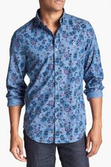Original Penguin Floral Print Chambray Shirt - Lyst