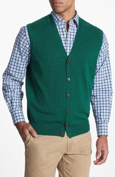 Dark Green Mens Sweater Vest - Cashmere Sweater England