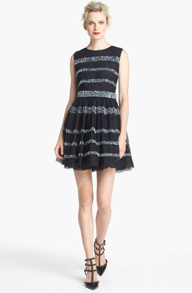 Red valentino multicolor bead embroidered stripe dress in blue black