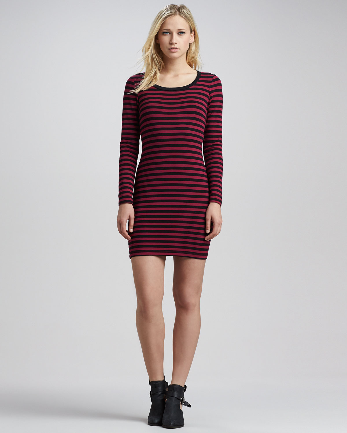 Splendid Sangria Fitted Longsleeve Striped Dress in Purple | Lyst