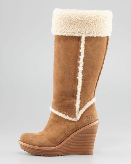 ugg aubrie suede wedge knee boot chestnut in brown