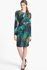 Vince Camuto Belted Print Jersey Dress - Lyst