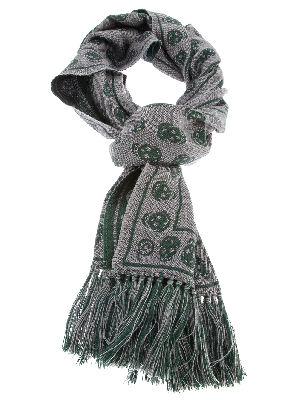 mcqueen skull print scarf in green for lyst