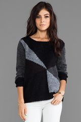 Alice + Olivia Alice Olivia Elsa Sheer and Boucle Blocked Sweater in Black - Lyst
