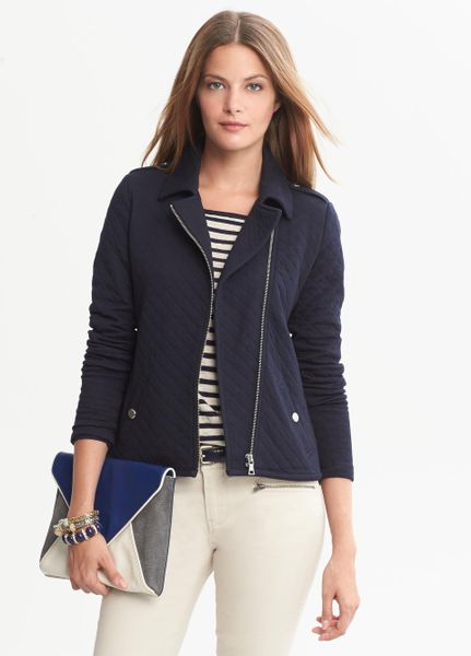 Banana Republic Quilted Knit Moto Jacket True Navy In Blue