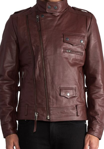 Burgundy Leather Bomber Jacket Men