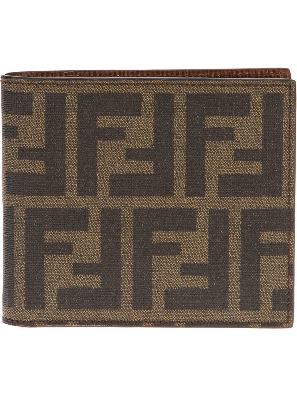 Fendi Monogram Print Bifold Wallet In Brown For Men Lyst