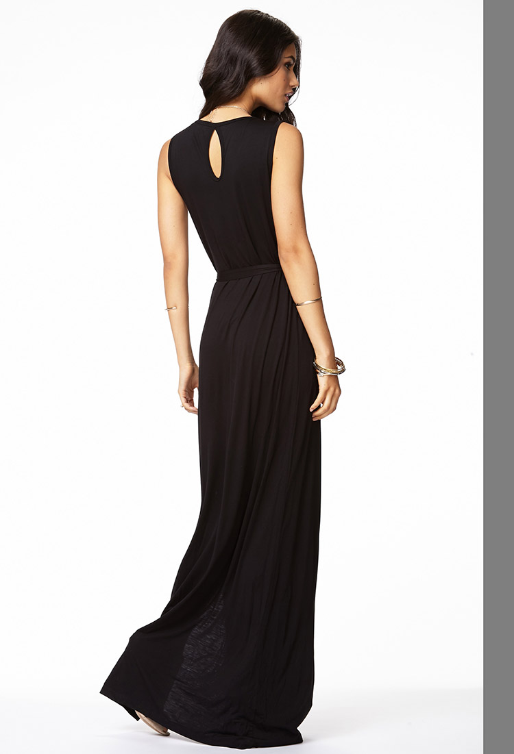 Lyst - Forever 21 Cutout Jersey Knit Maxi Dress in Black