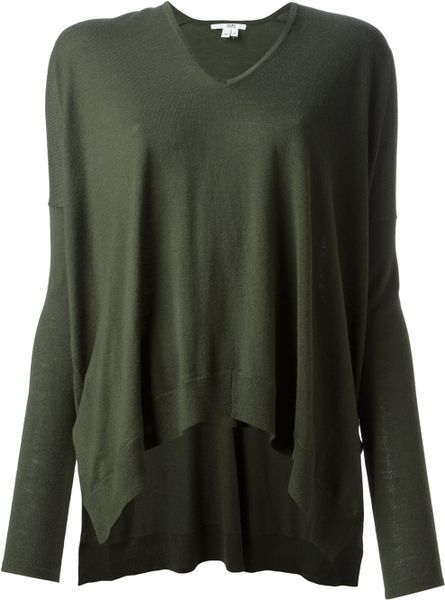 Helmut Lang Oversize V-neck Sweater in Green - Lyst