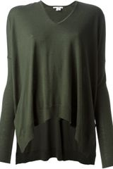 Helmut Lang Oversize Vneck Sweater in Green - Lyst