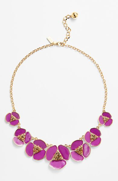 Kate Spade Disco Pansy Graduated Necklace In Purple