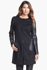 Lafayette 148 New York Shira Leather Wool Blend Coat - Lyst