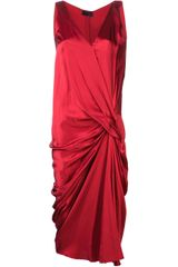 Lanvin Draped Front Asymmetrical Dress - Lyst