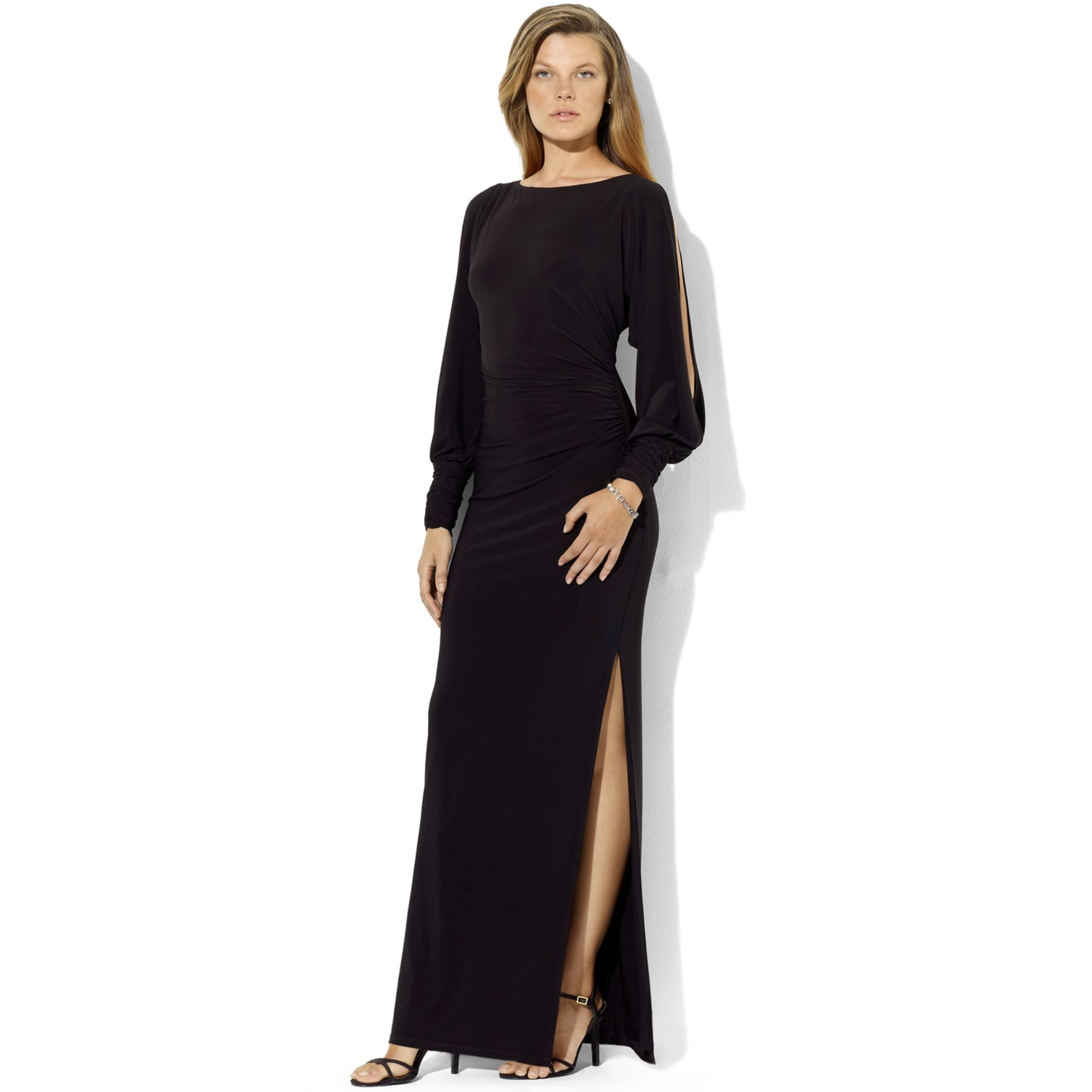 Lauren By Ralph Lauren Long Sleeve Split Jersey Gown In