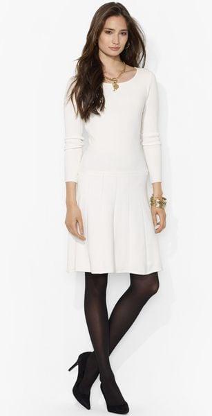 Lauren By Ralph Lauren Fit Flare Sweater Dress In White