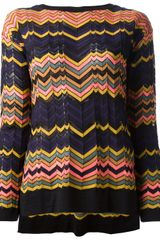 M Missoni Zigzag Stripe Top - Lyst