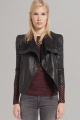 Maje Leather Jacket Draped Front - Lyst