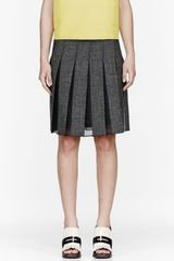 Marni Black Mottled Wool and Silk Pleated Skirt - Lyst