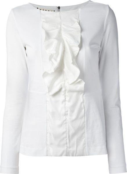 Women'S White Ruffle Front Blouse 82