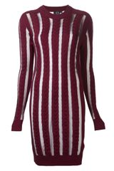 McQ by Alexander McQueen Mesh Stripe Fitted Dress - Lyst