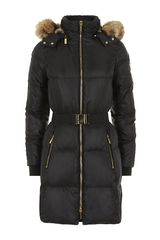 Michael by Michael Kors Daune Puffer Coat with Fur Trim - Lyst