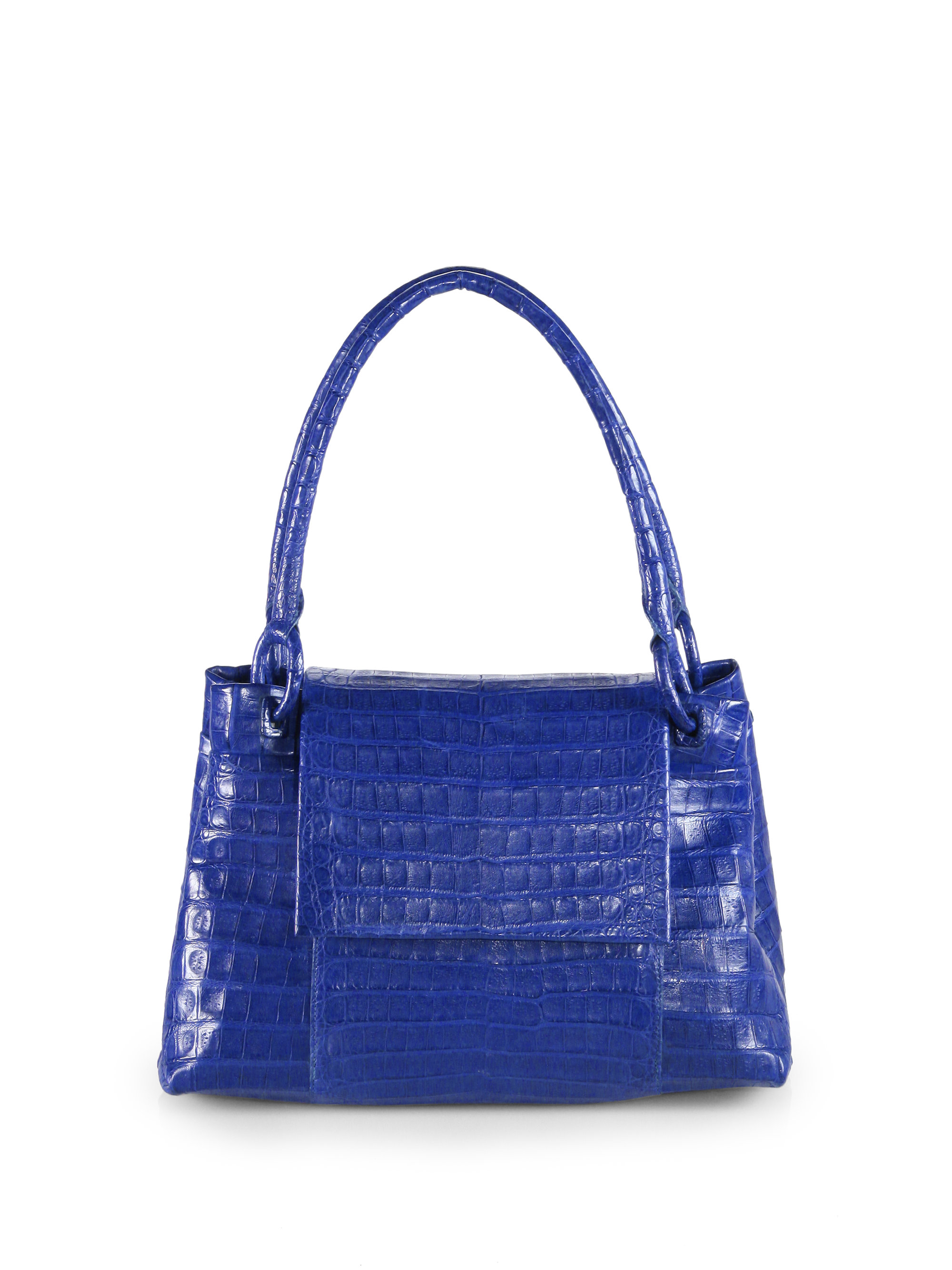 Nancy gonzalez small crocodile flap tote in blue cobalt for Nancy gonzalez crocodile tote