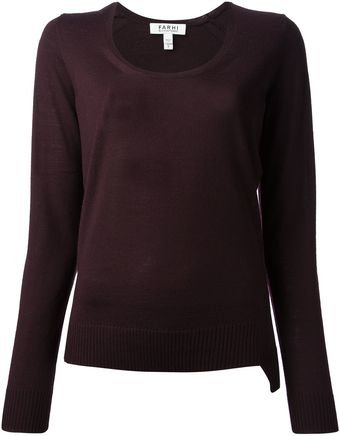 Nicole Farhi Scoop Neck Sweater - Lyst