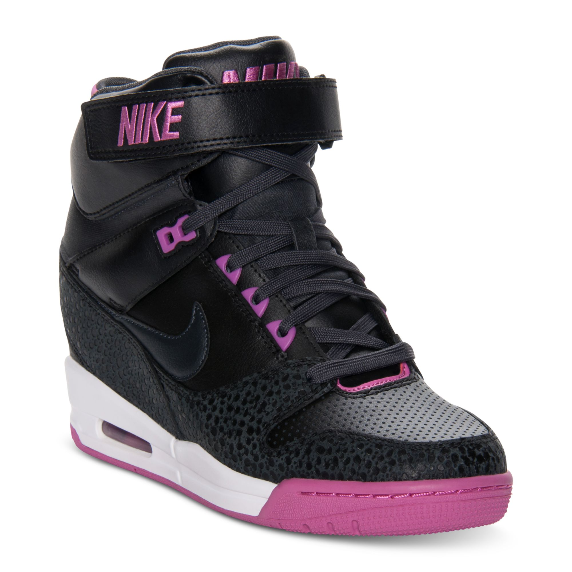 lyst nike air revolution sky hi casual wedge sneakers in