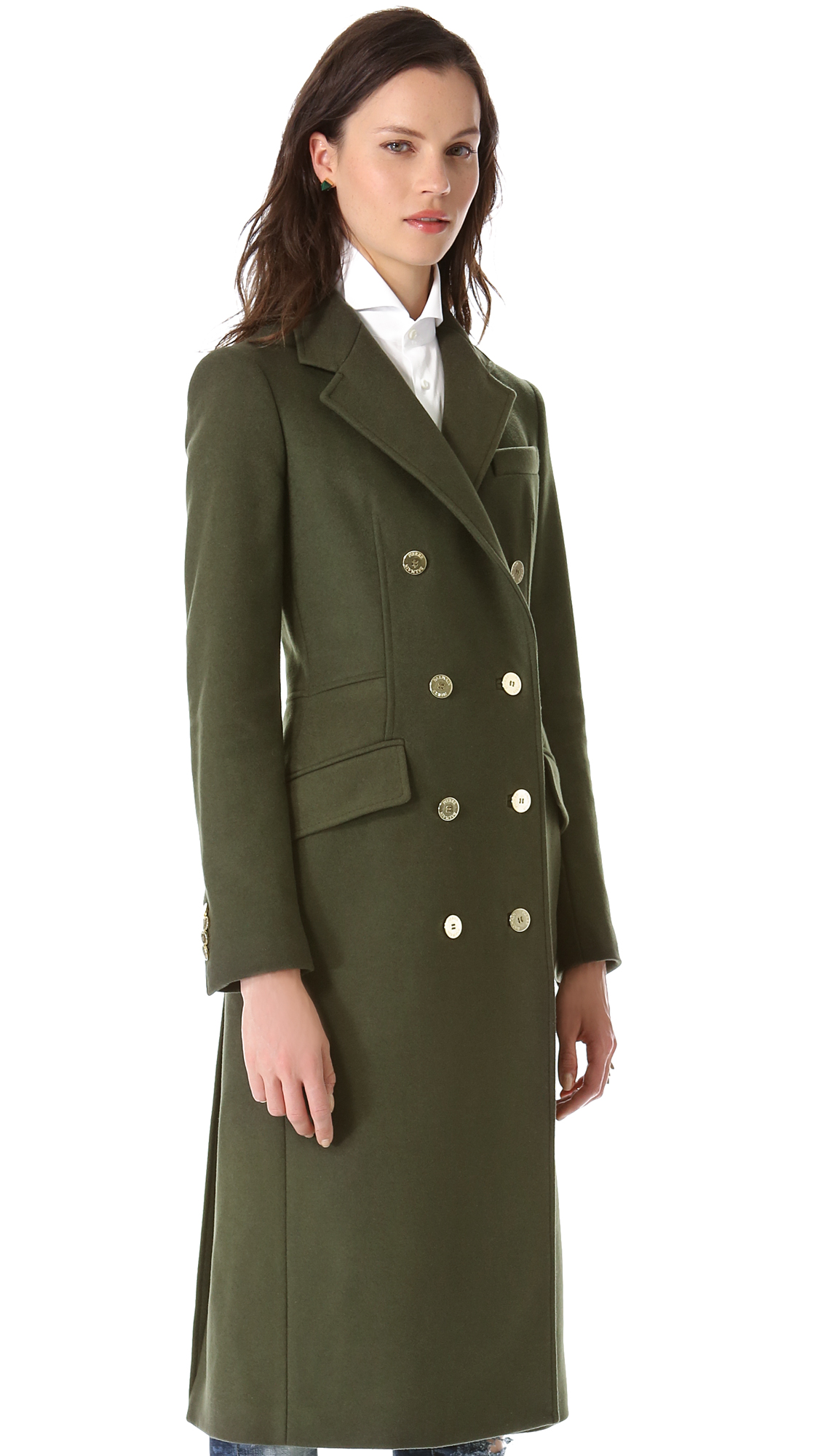 Balmain Double Breasted Long Coat In Olive Green Lyst