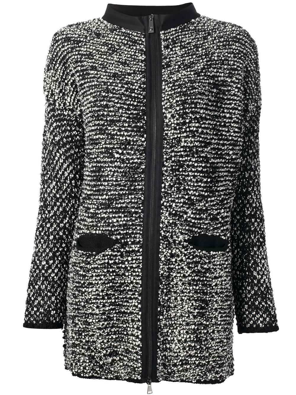 Lyst Pinko Boucle Knit Jacket In Gray