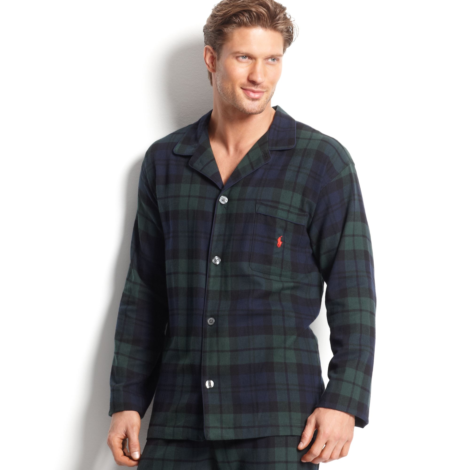 Lyst polo ralph lauren men 39 s long sleeved plaid flannel for Black watch plaid flannel shirt