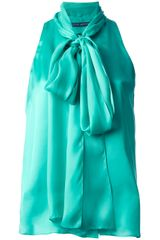 Ralph Lauren Blue Label Sleeveless Bow Blouse - Lyst