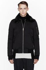 Rick Owens Black Fur_collared Bomber Jacket - Lyst