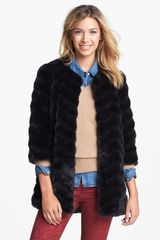 Sam Edelman Chevron Faux Fur Coat - Lyst