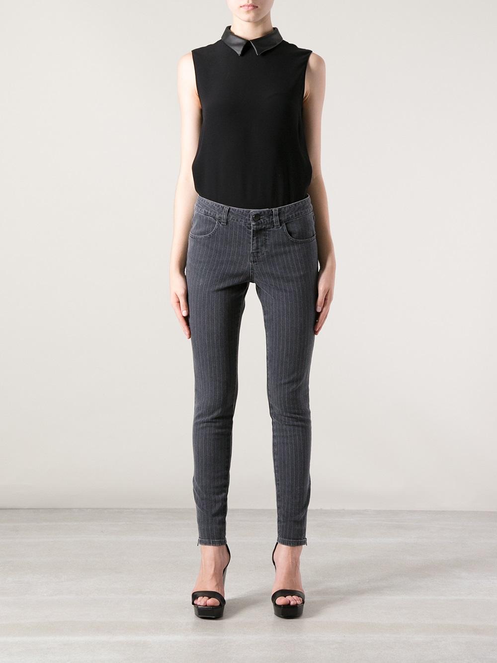 Lyst Stella Mccartney Pinstripe Skinny Jean In Gray