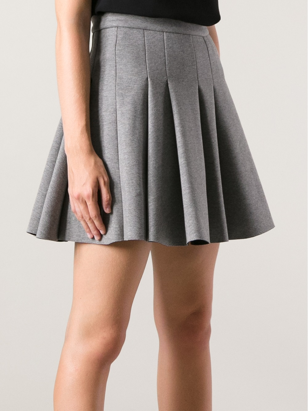 Lyst T By Alexander Wang Pleated Skirt In Gray